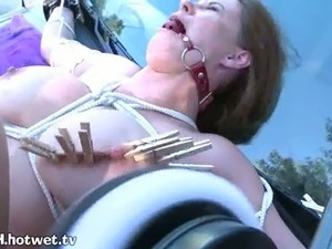 A Helpless Housewife Showing Pain While In Bondage