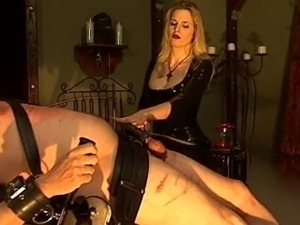 Helpless Slave Gets Trained by Blonde Mistress in Latex